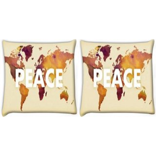 Snoogg Pack Of 2 Peace Digitally Printed Cushion Cover Pillow 14 x 14 Inch