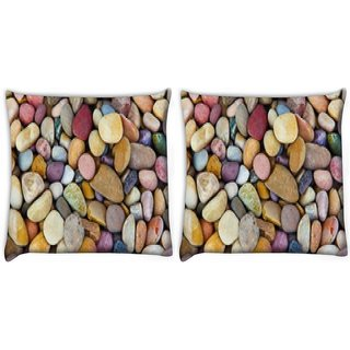Snoogg Pack Of 2 Colorful Pebble Digitally Printed Cushion Cover Pillow 14 x 14 Inch
