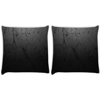 Snoogg Pack Of 2 Black Duster Wall Digitally Printed Cushion Cover Pillow 14 x 14 Inch