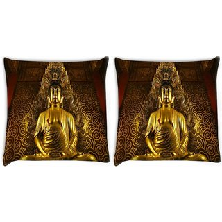 Snoogg Pack Of 2 Bhudda Digitally Printed Cushion Cover Pillow 14 x 14 Inch