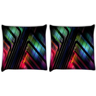Snoogg Pack Of 2 Abstract Patterned Design Digitally Printed Cushion Cover Pillow 14 x 14 Inch