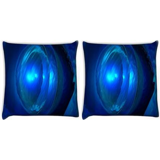 Snoogg Pack Of 2 Deep Blue Jewel Digitally Printed Cushion Cover Pillow 14 x 14 Inch