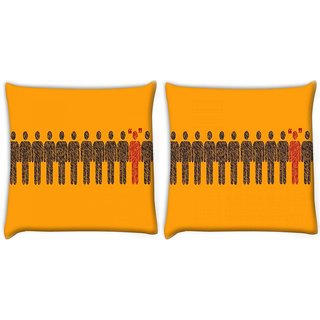 Snoogg Pack Of 2 Different Dual Fun Digitally Printed Cushion Cover Pillow 14 x 14 Inch