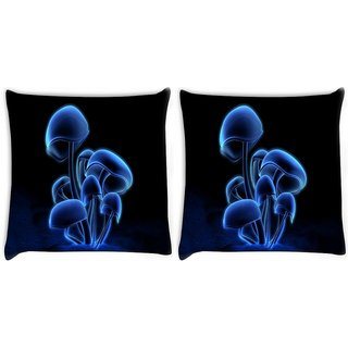 Snoogg Pack Of 2 Digital Blasphemy Mushroom Digitally Printed Cushion Cover Pillow 14 x 14 Inch