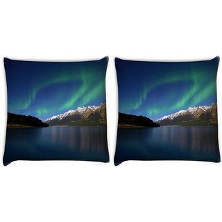 Snoogg Pack Of 2 Mountians View Digitally Printed Cushion Cover Pillow 14 x 14 Inch