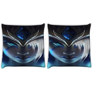 Snoogg Pack Of 2 League Of Legends Digitally Printed Cushion Cover Pillow 14 x 14 Inch