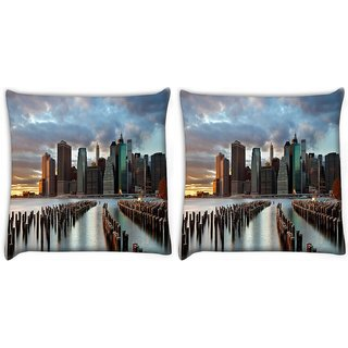 Snoogg Pack Of 2 Manhattan World Digitally Printed Cushion Cover Pillow 14 x 14 Inch