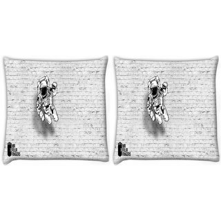 Snoogg Pack Of 2 Mr.Four Fingers Digitally Printed Cushion Cover Pillow 14 x 14 Inch