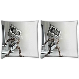 Snoogg Pack Of 2 Rocking Cassette Digitally Printed Cushion Cover Pillow 14 x 14 Inch