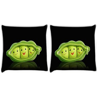 Snoogg Pack Of 2 Grren Peas Digitally Printed Cushion Cover Pillow 14 x 14 Inch