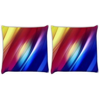 Snoogg Pack Of 2 Mixed Color Strips Digitally Printed Cushion Cover Pillow 14 x 14 Inch