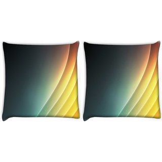 Snoogg Pack Of 2 Lite Yellow Color Strips Digitally Printed Cushion Cover Pillow 14 x 14 Inch