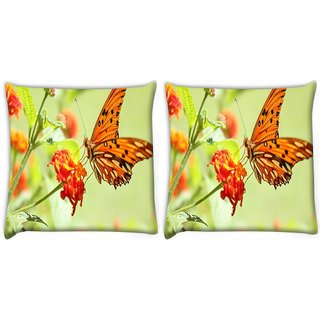 Snoogg Pack Of 2 Orange Butterfly Digitally Printed Cushion Cover Pillow 14 x 14 Inch