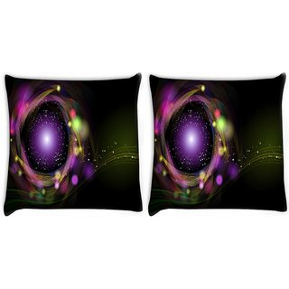 Snoogg Pack Of 2 Sparkling Circle Design Digitally Printed Cushion Cover Pillow 14 x 14 Inch