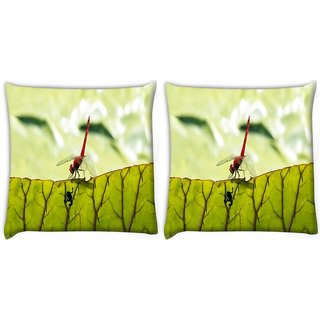 Snoogg Pack Of 2 Bloody Red Dragonfly Digitally Printed Cushion Cover Pillow 14 x 14 Inch