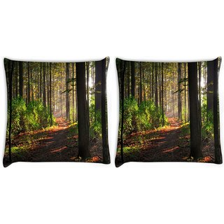 Snoogg Pack Of 2 Abstract Pathway Digitally Printed Cushion Cover Pillow 14 x 14 Inch
