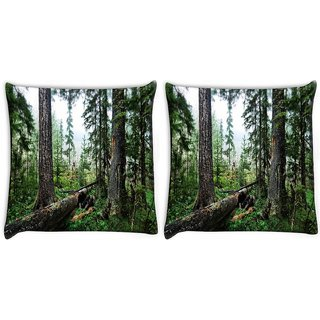 Snoogg Pack Of 2 Abstract Broken Tree Digitally Printed Cushion Cover Pillow 14 x 14 Inch