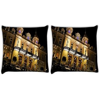 Snoogg Pack Of 2 Palace At Night Digitally Printed Cushion Cover Pillow 14 x 14 Inch