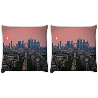 Snoogg Pack Of 2 Green Roads In City Digitally Printed Cushion Cover Pillow 14 x 14 Inch