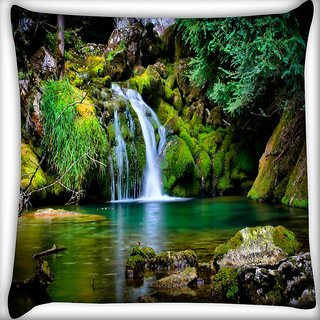 Snoogg Water Fall Digitally Printed Cushion Cover Pillow 12 x 12 Inch