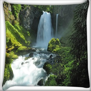 Snoogg Abstract Waterfall Digitally Printed Cushion Cover Pillow 12 x 12 Inch