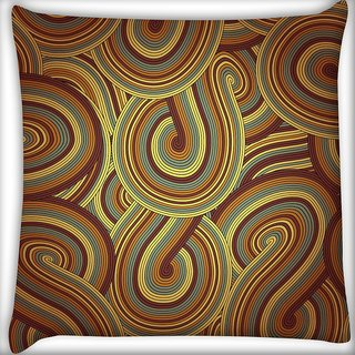 Snoogg Brown Pattern Layer Digitally Printed Cushion Cover Pillow 12 x 12 Inch