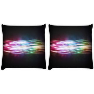 Snoogg Pack Of 2 Abstract Rays Digitally Printed Cushion Cover Pillow 14 x 14 Inch