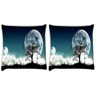 Snoogg Pack Of 2 Tree At Night Digitally Printed Cushion Cover Pillow 14 x 14 Inch