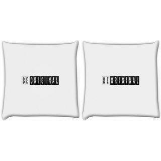 Snoogg Pack Of 2 Be Original Digitally Printed Cushion Cover Pillow 14 x 14 Inch
