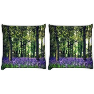 Snoogg Pack Of 2 Purple Small Plants Digitally Printed Cushion Cover Pillow 14 x 14 Inch