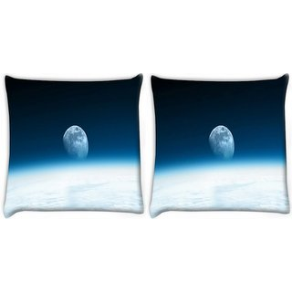 Snoogg Pack Of 2 Abstract Moon Digitally Printed Cushion Cover Pillow 14 x 14 Inch