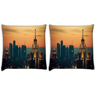 Snoogg Pack Of 2 Darken City Digitally Printed Cushion Cover Pillow 14 x 14 Inch