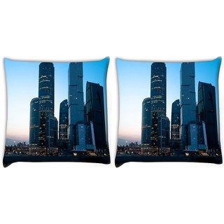 Snoogg Pack Of 2 Abstract Buildings Digitally Printed Cushion Cover Pillow 14 x 14 Inch