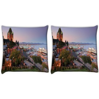 Snoogg Pack Of 2 Colorful Buildings Digitally Printed Cushion Cover Pillow 14 x 14 Inch