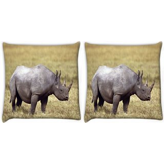 Snoogg Pack Of 2 Abstarct Rhino Digitally Printed Cushion Cover Pillow 14 x 14 Inch