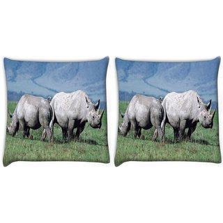Snoogg Pack Of 2 Pair Of Rhino Digitally Printed Cushion Cover Pillow 14 x 14 Inch