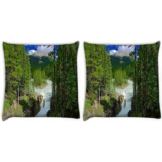 Snoogg Pack Of 2 Water Flowing Digitally Printed Cushion Cover Pillow 14 x 14 Inch
