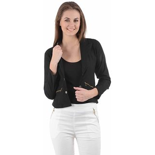 Raabta Fashion Black Cotton Blend Blazers For Women
