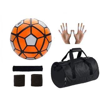 ... Shoppers Ordem Orange White Football (Size-5) with Gym Duffle Bag Combo.  Orange f0a90f15f4ff1