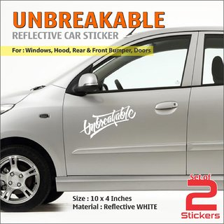 UNBREAKABLE WHITE Reflective Stickers For Hyundai I10 Grand