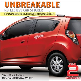 Buy Unbreakable White Reflective Stickers For Chevrolet Beat Online