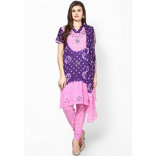 Purple Mirror work Cotton Dress Material