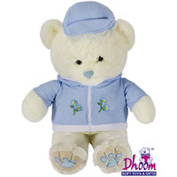 Dhoom Soft Toys Teddy Bear White With Blue Cap And Jacket ( 36 Inches )