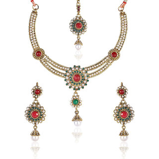 Shining Diva Red & Green Bead Necklace Set With Maang-Tika
