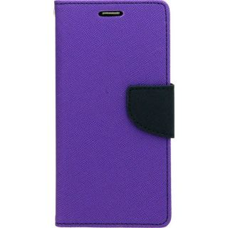 FANCY WALLET DIARY WITH STAND VIEW FAUX LEATHER FLIP COVER For Sony Xperia C PURPLE