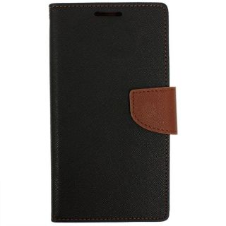 NEW FANCY DIARY WALLET FLIP CASE BACK COVER For Micromax Canvas Sliver 5 Q450 BROWN