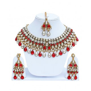 Red Designer partywear Necklace Set With Mang Tikka