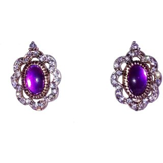 Fashionable Golden  Purple earrings for women  girls by shrungarika (E-353 )