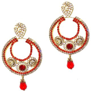 Traditional Golden  Red Hoop Earrings for women  girls by shrungarika ( E-350 )