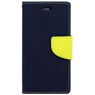 FANCY WALLET DIARY WITH STAND VIEW FAUX LEATHER FLIP COVER For Micromax Canvas Sliver 5 Q450 BLUE